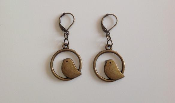boucles d'oreilles oiseaux bronze
